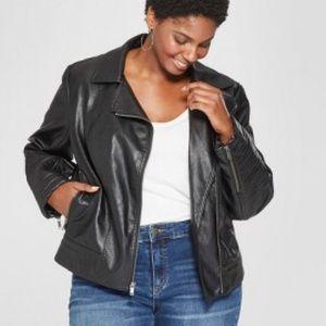 NWT Ava & Viv Faux Leather Moto Jacket 1X